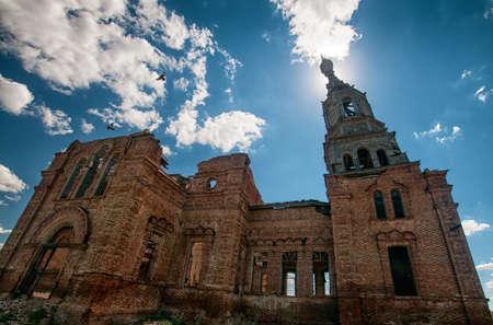 church ruins: Old orthodox church ruins, Saratov region, Russia