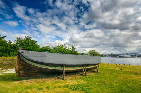 Ancient old viking boat near Fram Museum, Oslo