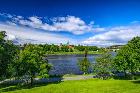 Nidarosdomen - Nidaros Cathedral landscape in Trondheim, Norway