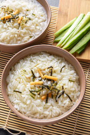 ange: Two portions of japanese meal ochazuke or chazuke Stock Photo