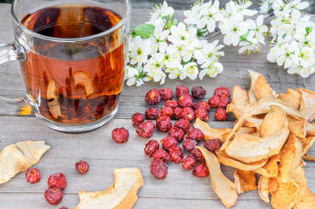 Dried dog rose, rosehips, apples and tea