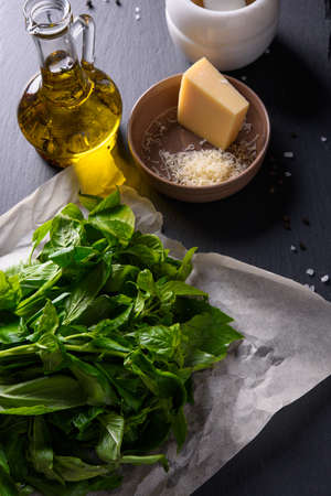Pesto ingredients: basil, olive oil and cheese