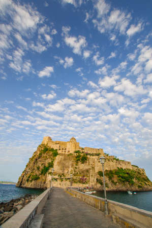 Front view of Aragonese castle, Ischia, Italy Stock Photo