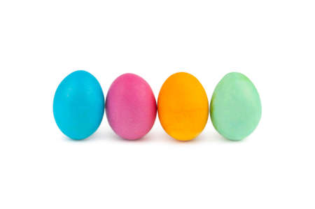 Colorful Easter eggs in line isolated on white background