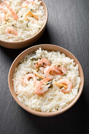 Two portions of japanese meal ochazuke or chazuke ith shrimps