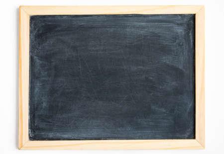 Blank chalkboard in light wooden frame isolated on white