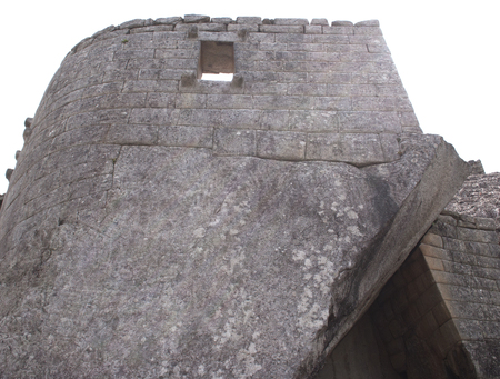 Machu Picchu the Inca lost city stone walls perspective of the royal tomb  Peru