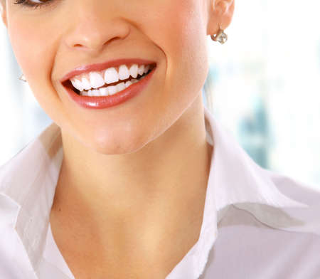 Cropped closeup image of young woman laughing Stock Photo - 11072917