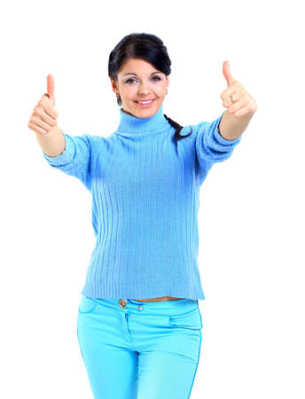 Smiling woman with thumbs up Stock Photo - 11072942