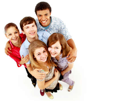 casual group of happy people isolated over white  photo