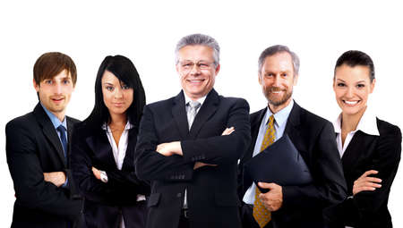 successful leadership: business team formed of young businessmen standing over a dark background