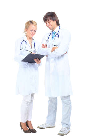 a young doctor and nurse working  photo
