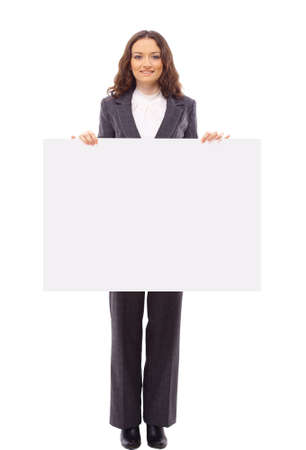 poster presentation: Cute Indian woman presents with a blank white board  Stock Photo