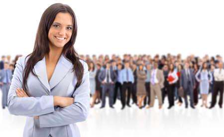 mucha gente: Mujer feliz empresa joven de pie frente a su equipo