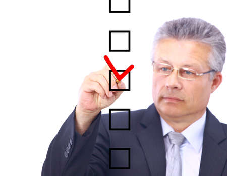 man choosing one of five options  photo