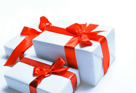 new year s day: gift boxes over white background