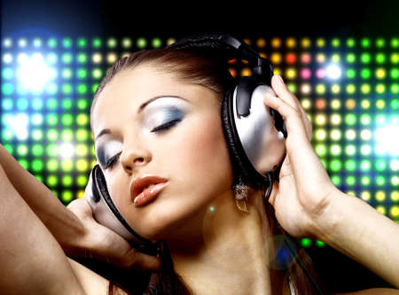 Portrait of a young girl in headphones Stock Photo - 11148165