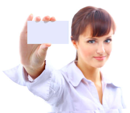 notecard: Portrait of a beautiful businesswoman holding a white card
