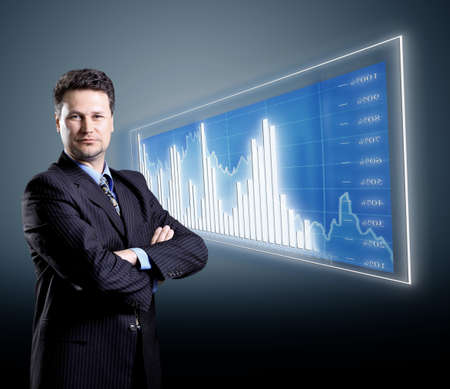 businessman and blue diagram photo