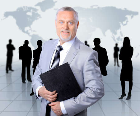 team leader: business man and his team