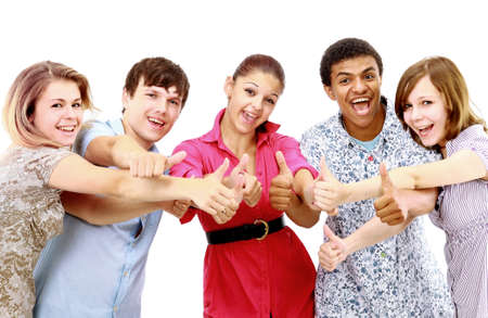 Cheerful group of young people. Isolated. Stock Photo - 11211385