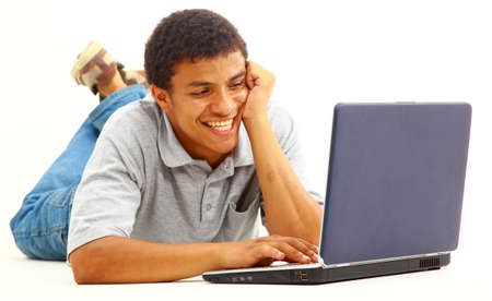 Casual urban young man -Portrait of a handsome casual guy with a laptop. Stock Photo - 11211377