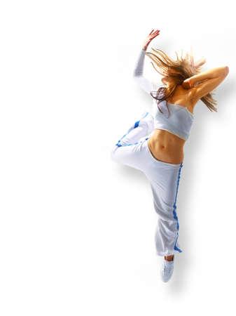 danza atractiva joven, el pelo suelto