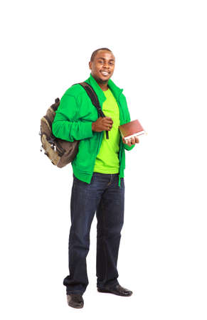 african student: Natural Looking Smiling Young African American Male Model on Isolated Background  Stock Photo