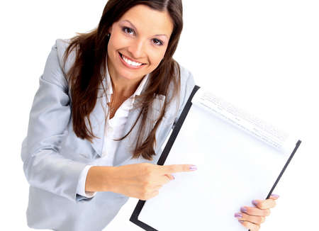 young businesswoman showing contract and where to sign  photo
