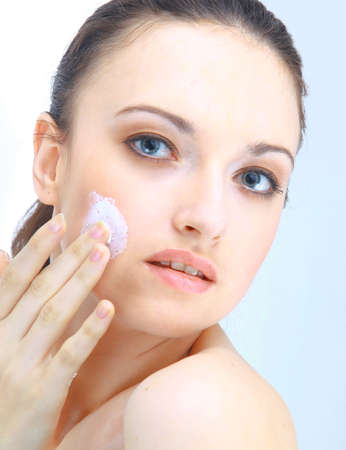 humidify: Portrait of young woman with health skin of face