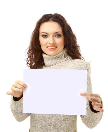 young add: Young woman holding an empty billboard over white background