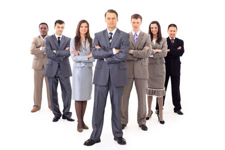 team leader: business man and his team isolated over a white background  Stock Photo