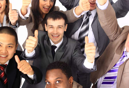 Top view of business people with their hands together in a circle  Stock Photo - 11212082