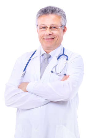 Closeup portrait of a happy senior doctor with stethoscope  photo