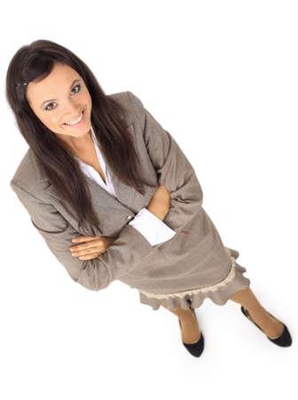 bovenaanzicht mens: Positieve zakelijke vrouw lachend op een witte achtergrond Stockfoto
