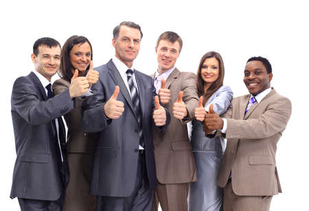 modern business lady: Excited group of business people-isolated  Stock Photo