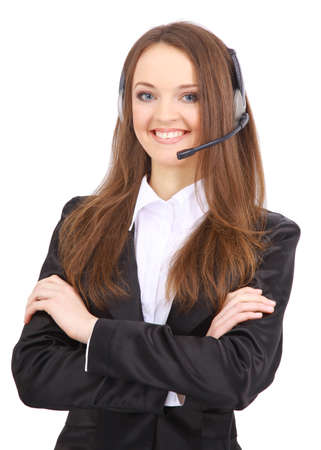 Woman wearing headset in office; could be receptionist  photo