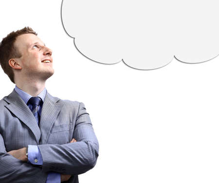 the thinker: Blank thought bubble above for your text or image