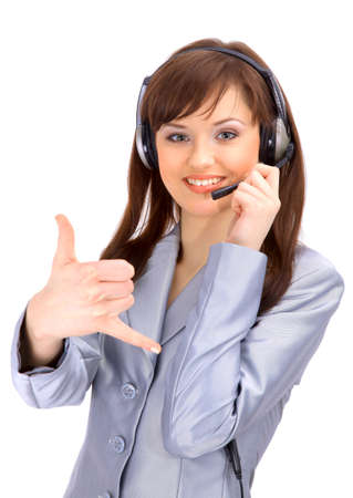 representative: business customer support operator woman smiling - isolated  Stock Photo