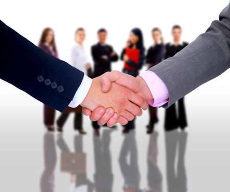 versprechen: Handshake isoliert auf weißem Hintergrund