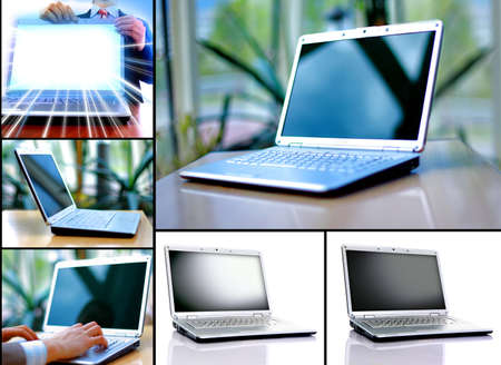 Collection of six laptops photo
