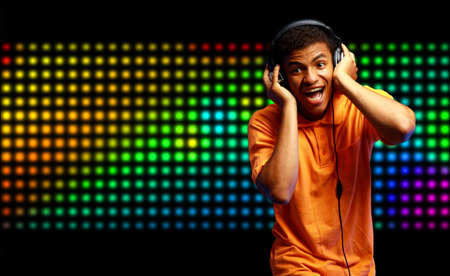 Boy is is listening to music Stock Photo