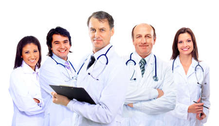 Portrait of group of smiling hospital colleagues standing together  photo