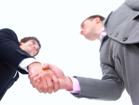 handshake isolated on white background Stock Photo
