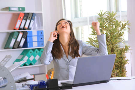 business woman showing blank laptop Stock Photo - 11315022