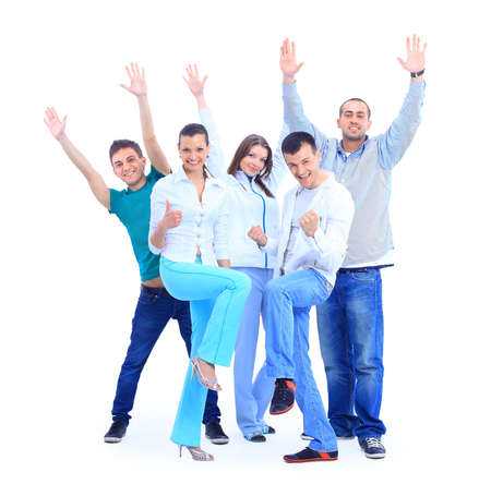 Group of the young smiling people. Over white background