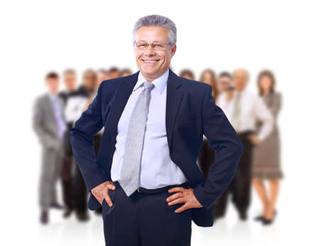 group leader: business man and his team isolated over a white background  Stock Photo