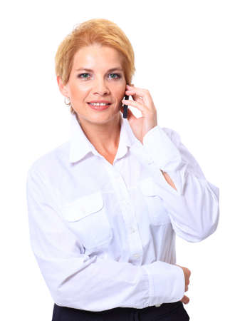 Portrait of business woman talking on the phone over white background  photo