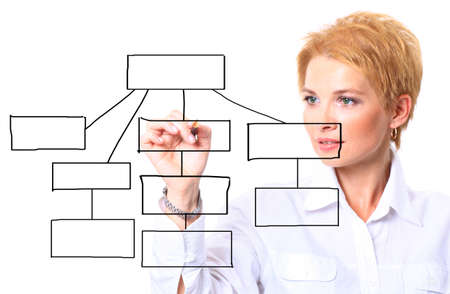 Attractive businesswoman writing a diagram.Isolated on white backgroun