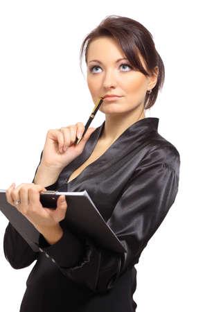 donna pensiero: Ritratto di un giovane imprenditore pensiero femminile, mentre a prendere appunti su sfondo bianco Archivio Fotografico